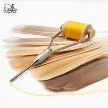Outils dattache à la mouche, 2 pièces, très lisses, avec enrouleur, à fil, accessoires de pêche à balles