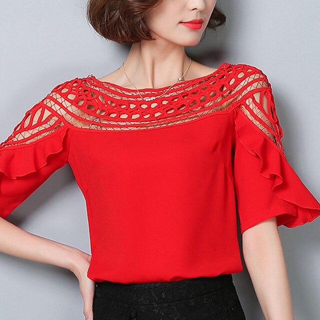 435d2c5df9b15c Korean style 2017 Summer women lace hollow out chiffon blouse plus size  shirt short sleeved casual chiffon tops shirt 960G 30