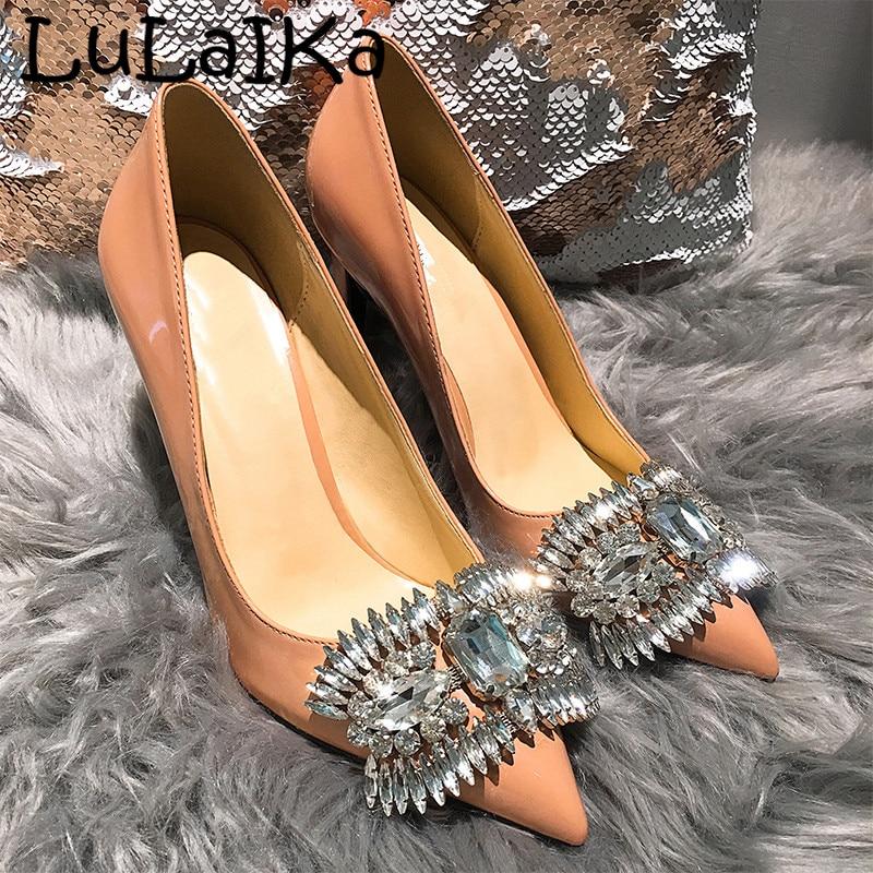 2018 hiver nouvelles chaussures en cristal femme pompes de fête de mariage bout pointu Sexy nu Stiletto strass mode dames chaussures à talons hauts