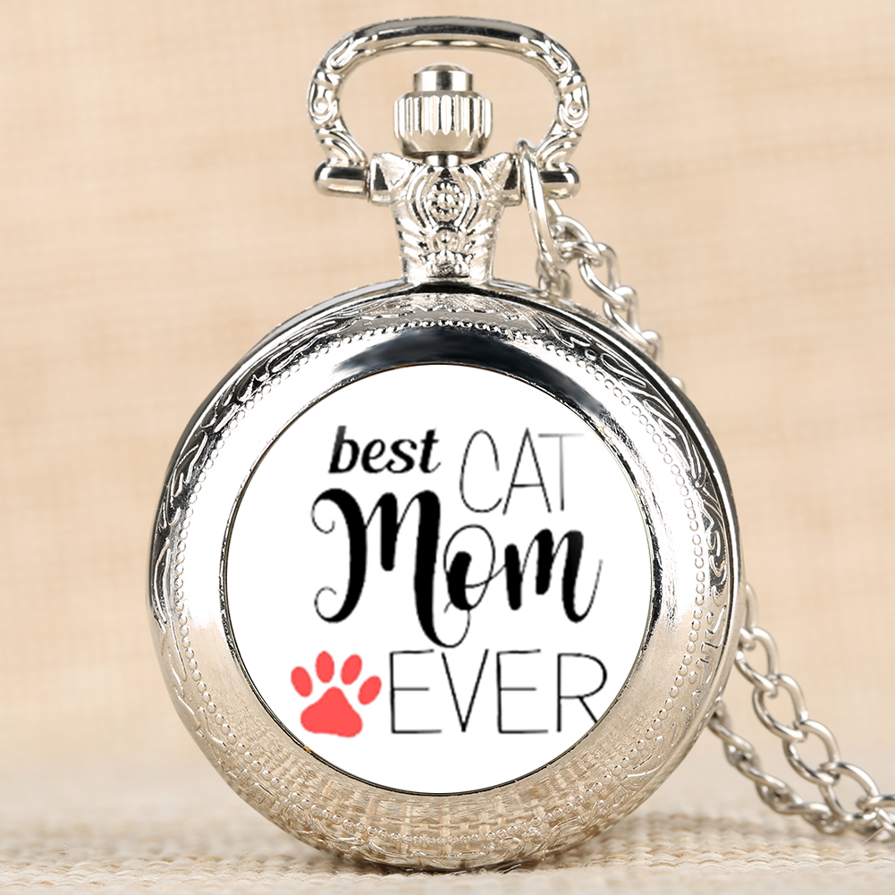 Novel Dog Mom Series Pocket Watch For Women Quartz Pocket Watches For Female Analog Pendant Watch Chain For Ladies