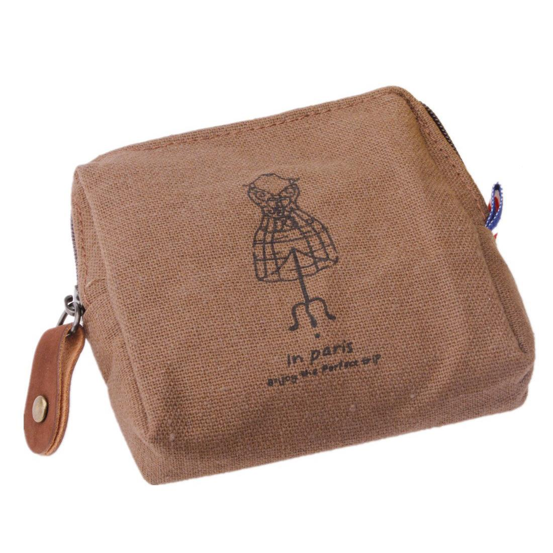 Woman girl Retro portable purse bag pouch for key card Wallet Brown