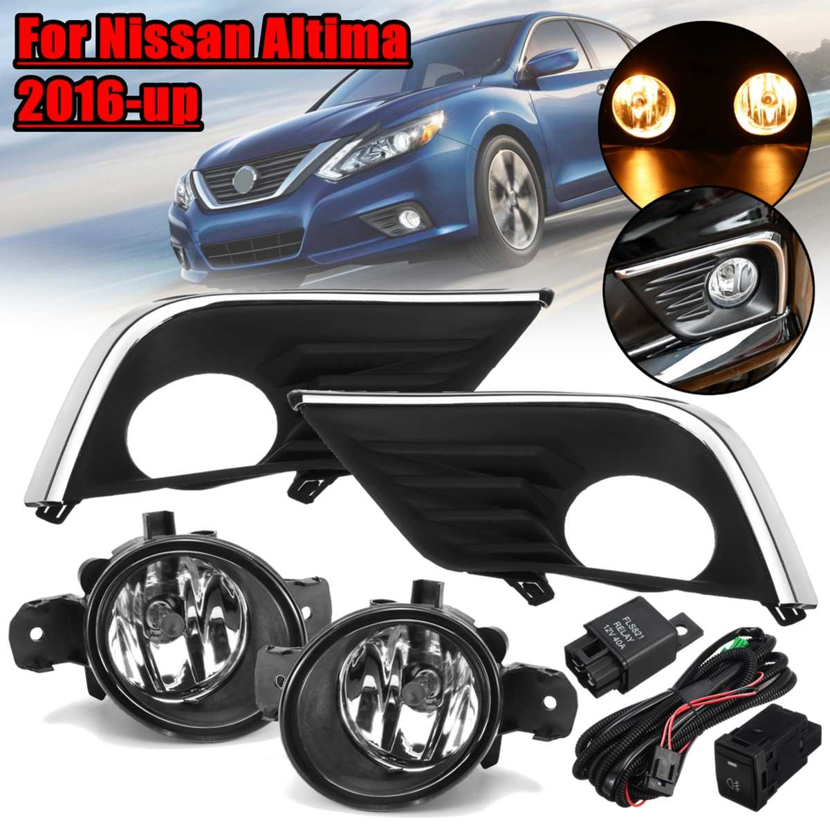 1 Pair For Nissan Altima 2016 2017 2018 12V 55W H11 Car Front Fog Lights And Cover With Wire Switch Lamp Cover Frame Replacement