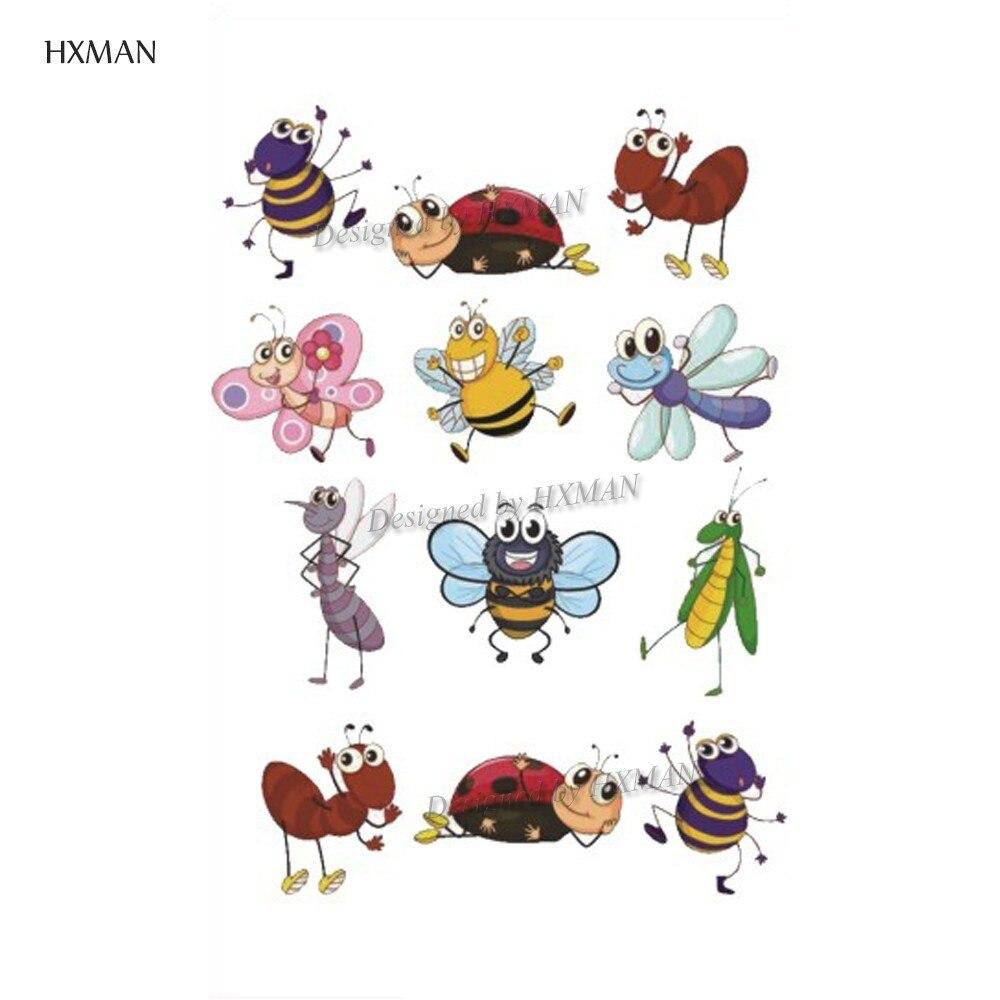 HXMAN Cartoon Animals Temporary Tattoo Sticker Waterproof Women Fashion Fake Body Art 9.8X6cm Kids Hand Tattoos Hot Design A-378