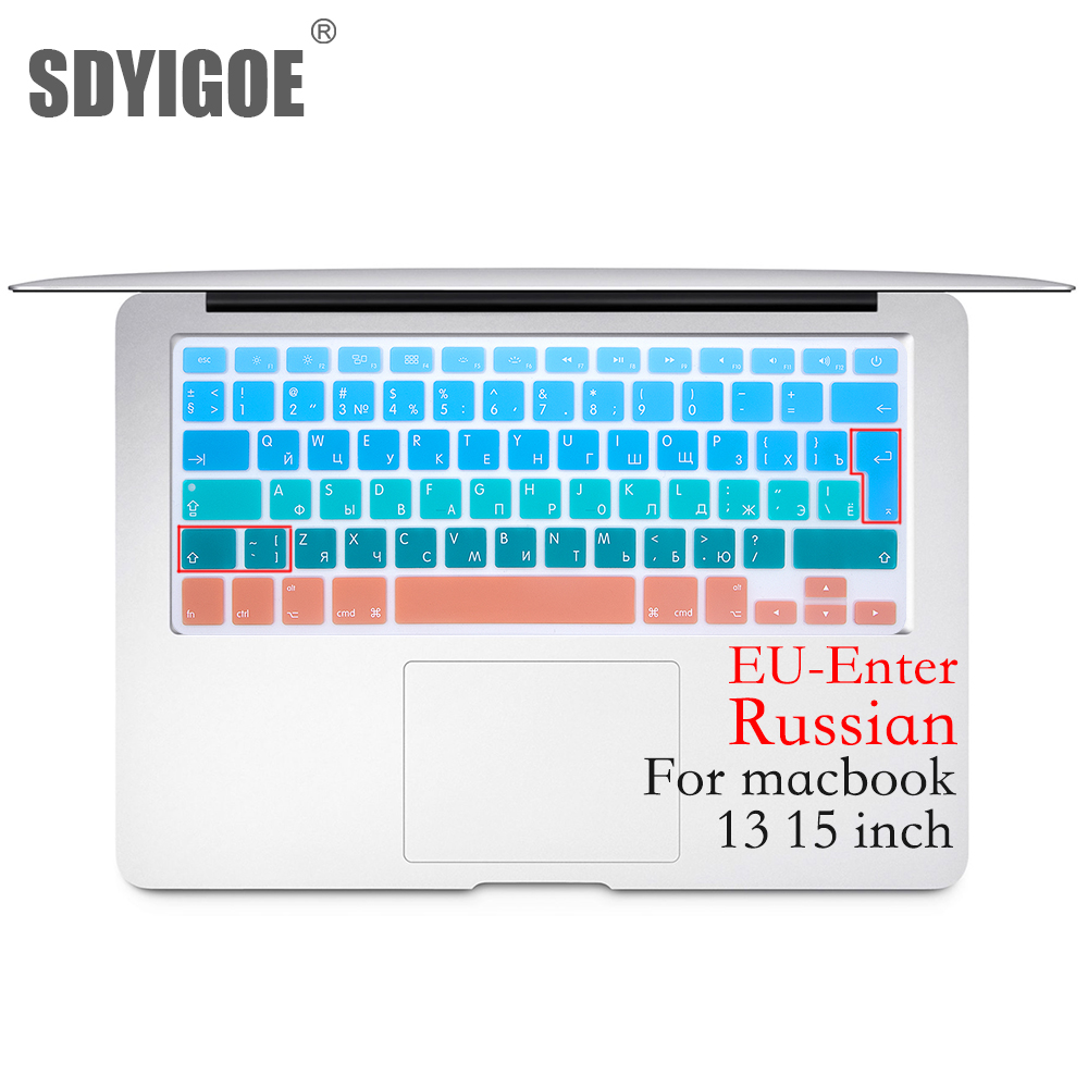 Colorful Keyboard Film for Mac Book pro 13 Spanish EU Silicone Keyboard Protector Cover Skin Protective Film-B