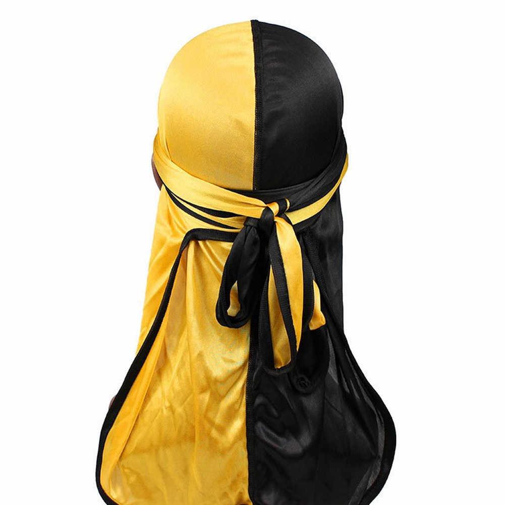 แฟชั่นผู้ชายใหม่ซาติน Durags BIKER Headwear หมวกผ้าพันคอผู้ชาย Silky Durag Doo Rag หมวก Headband ผมอุปกรณ์เสริม