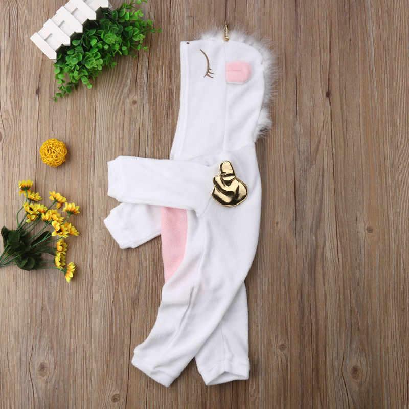 Единорог фланелевый комбинезон для маленьких девочек одежда мальчиков Зима Весна теплый длинный рукав комбинезон с капюшоном новорожденных Bebe
