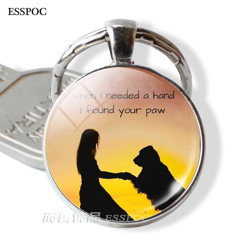 Mantenha A Calma eo Amor Rouca Cão Bulldog Pingente de Vidro Cabochão Anéis Chaveiro Keyfob Presente Do Amante Do Cão Dachshund