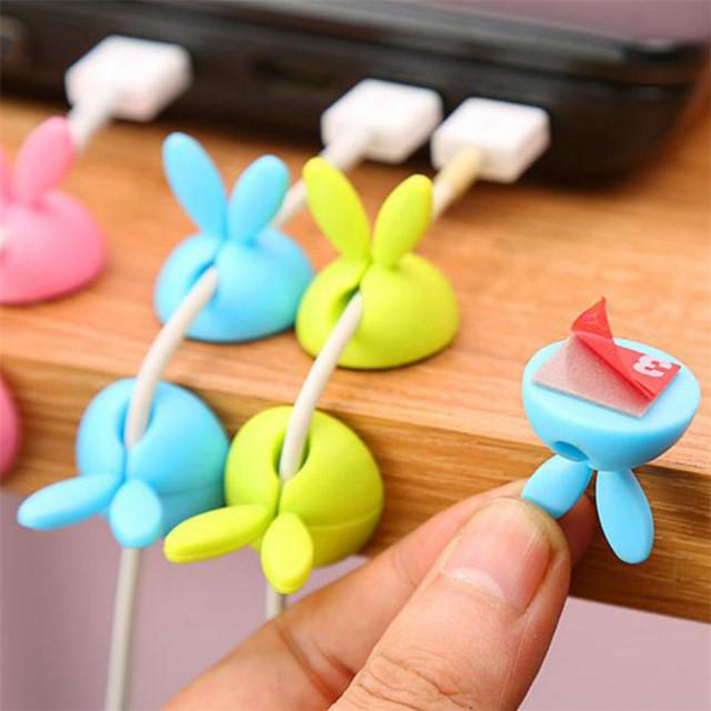 4pcs / set Rabbit Ear Kitchen Wire Fixing Device Kitchen Accessories Holder Finishing Storage Desk Cord Manager Kitchen Gadget-S