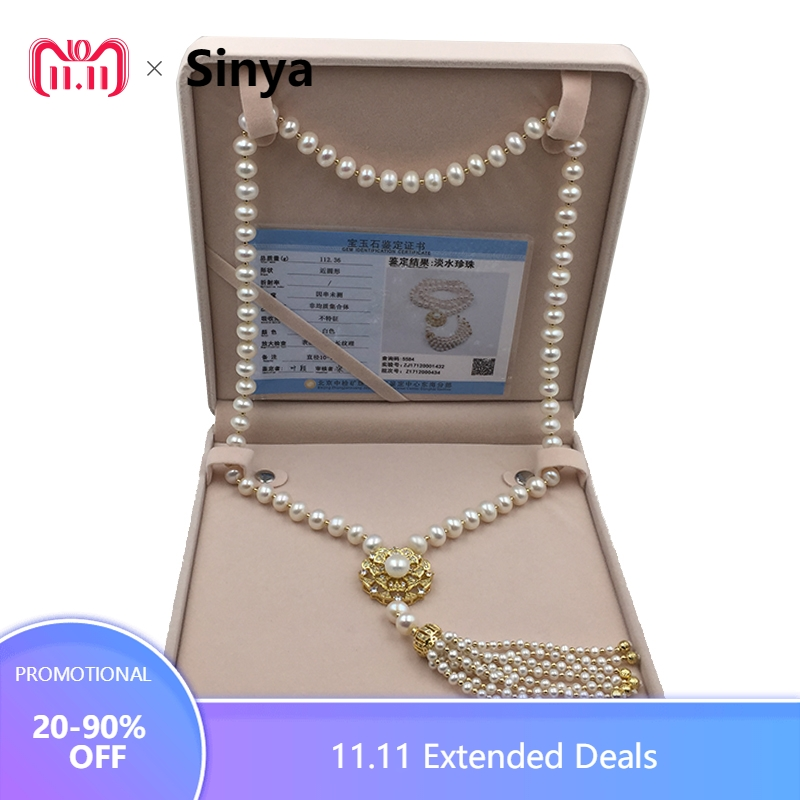 Sinya Tassels fashion Sweater chain Natural pearls Strand long necklace for Women Mum lover gold or white gold color optional free shipping imitation pearls chain flatback resin material half pearls chain many styles to choose one roll per lot