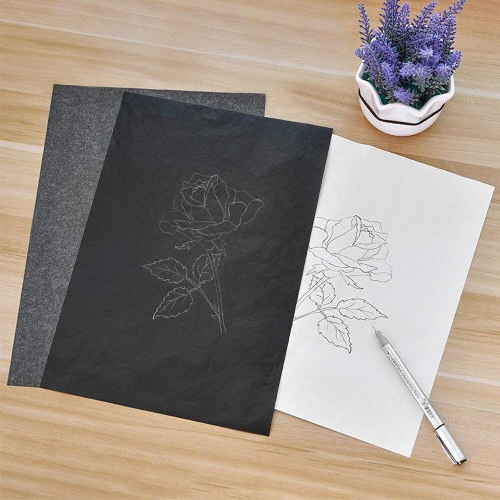 100 pièces/ensemble noir A4 copie carbone papier peinture papier calque Graphite peinture réutilisable peinture accessoires lisible traçage #16