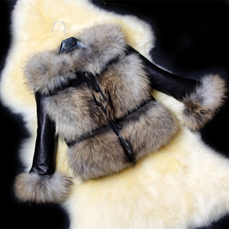 2018 Autumn Winter Short Fur Jacket Coat Leisure Pu   Leather   Stitched Faux Fur Coat Ladies Temperament Overcoat