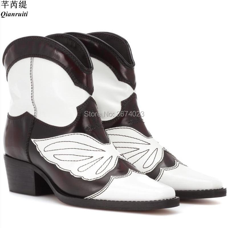Motif Mode Pics As Glissement Sur Patchwork Chunky Zapatos Embroiderd Bottes D'hiver Femmes Botas Qianruiti Mujer Cowboy Pics Talons as xOgaZqw