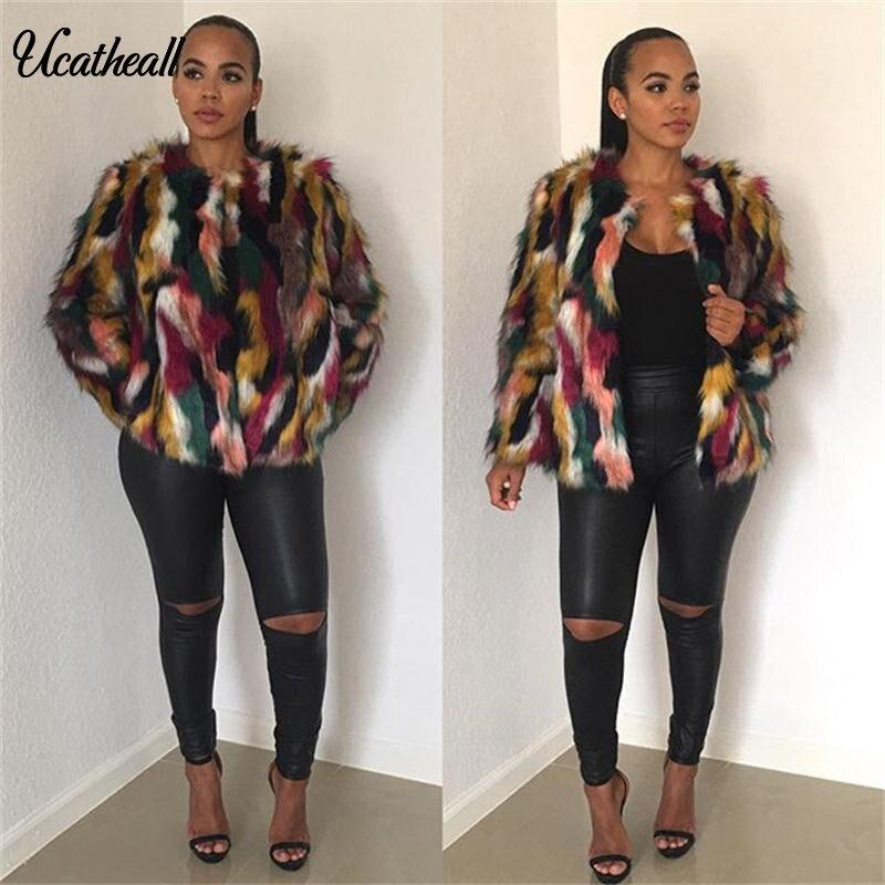 Manteau Streetwear Coloré Mode Fausse Femmes Poilu Multi Haute Veste D'hiver En Fourrure Sans Col Vêtements Pardessus LMqSUzVpG