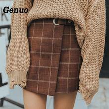 2019 WomenS Ulzzang Autumn And Winter Harajuku Thickened Woolen Plaid Retro Skirt Female Cute Japanese Kawaii Skirts For Women