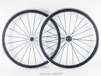 1pair New 700C 38mm clincher rim Road bike carbon bicycle wheelsets with alloy brake surface +hubs+aero spokes+skewers Free ship