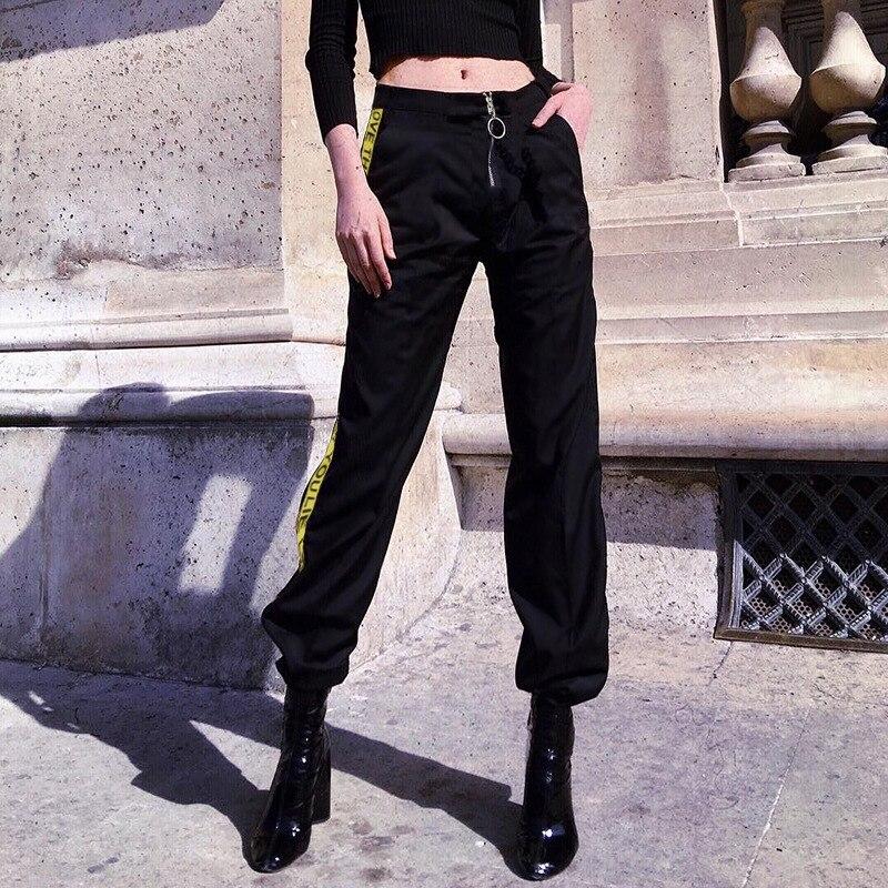 Houzhou 2019 New Sweatpants Women Cargo Pants Zipper High Waist Trousers Patchwork Letter Striped Jogger Mujer Streetwear Loose