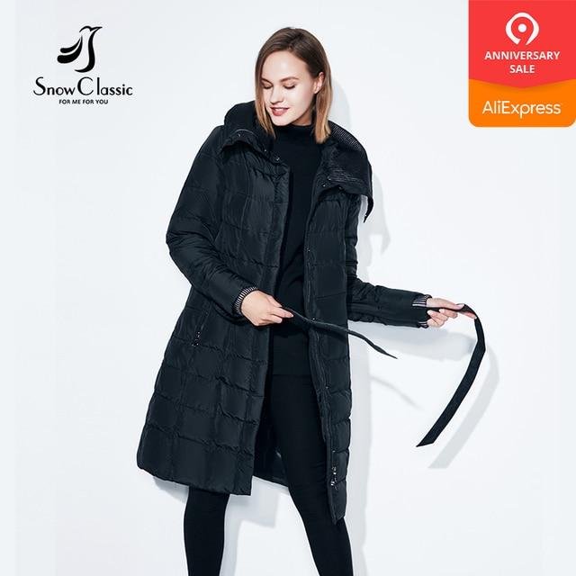 Snowclassic весенняя куртка женщин зимнее пальто женщин теплые outwear мода большой размер Средние-длинние роскошные зимние пальто толстые Slim Solid