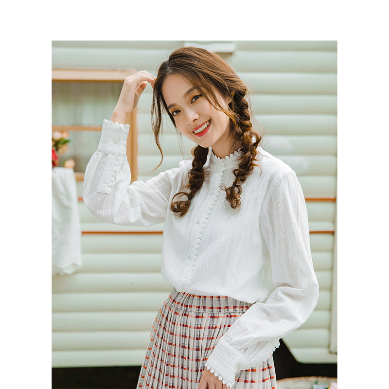 Image 3 - INMAN Spring Autumn Cotton Turn Down Collar Literary Retro Casual All Matched Loose Long Sleeves Women ShirtBlouses & Shirts   -