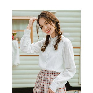 Image 3 - INMAN Spring Autumn Cotton Turn Down Collar Literary Retro Casual All Matched Loose Long Sleeves Women Shirt