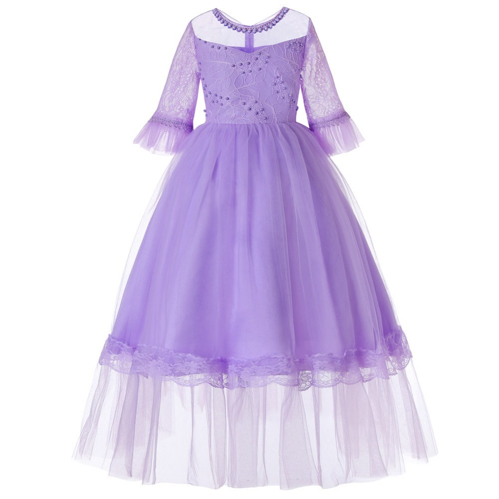 Little Girls Wedding Gowns: Lace Patchwork Teen Dress For Children Flower Little Girls