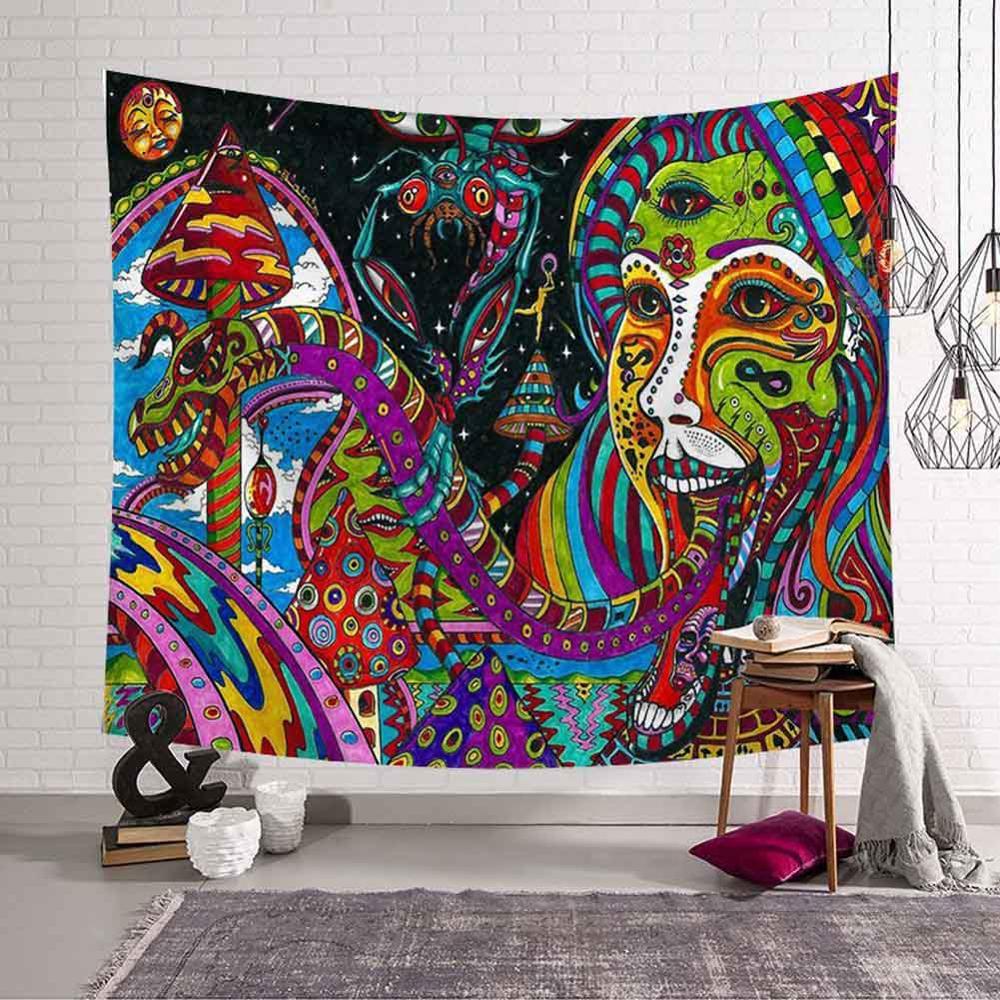 Psychedelic Mandala Tapestry Wall Hanging Geometric Hippie Boho Colors Printed Indian Tapestries Art Decorative Bohemian Carpet
