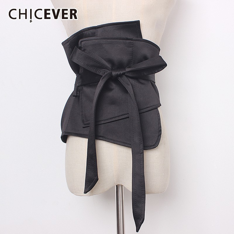 CHICEVER Summer Casual Solid Black Irregular Wide Belt For Women Patchwork Bow Fashion New Female Belts 2020