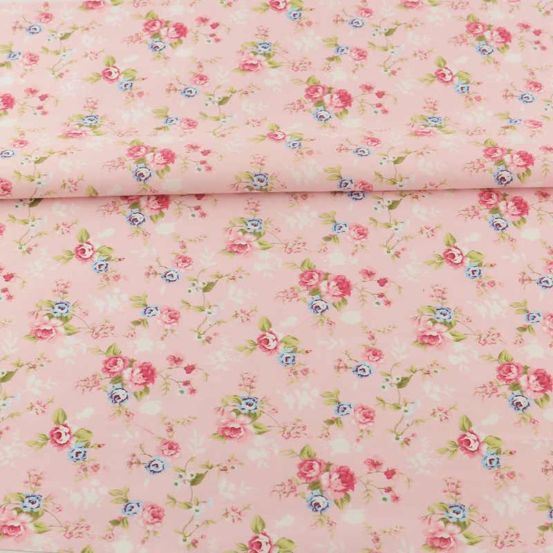 100% tissu de coton à coudre rose imprimé motifs de fleurs Tecido Scrapbooking literie tissu sergé Quitling Patchwork Textile à la maison
