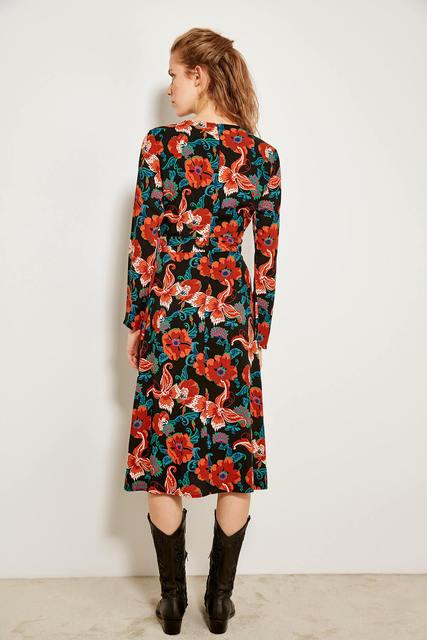 Elegant Multicolored Patterned Dress