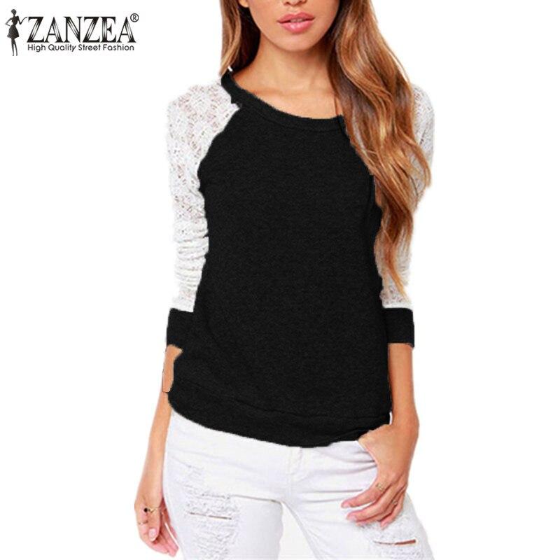Women's Clothing Intellective Zanzea 2019 Crochet Tees Tops Spring Elegant O Neck Long Sleeve Blouse Shirt Women Pullover Sexy Patchwork Lace Blusas Femininas Terrific Value