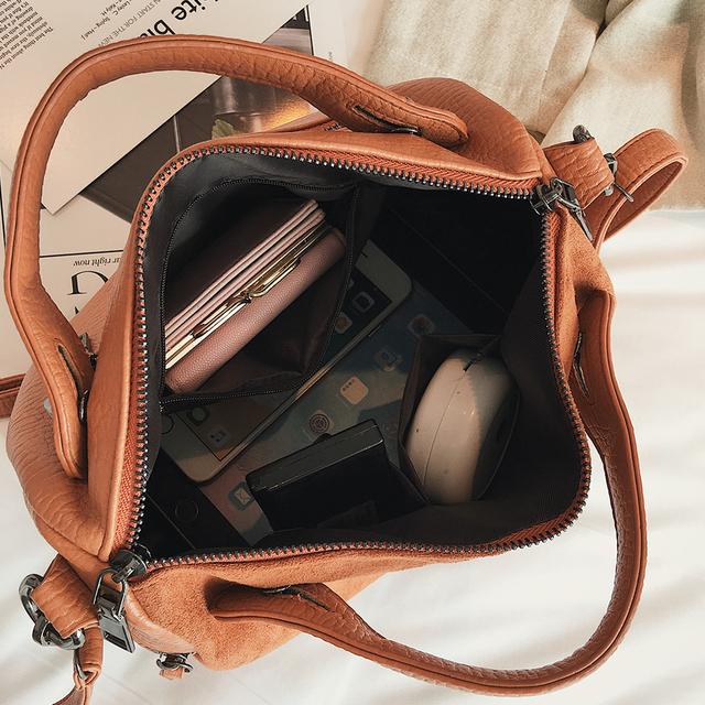Herald Fashion Nubuck Leather Hand Bags Female Top-handle Bags Rivet Large Women Shoulder Bags Ladies' Motorcycle Vintage Bag