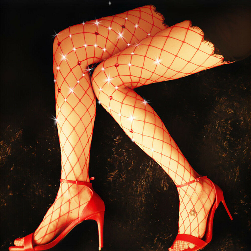 aec5bed89a448 New Women Red Tights Sexy Shinny Crystal Fishnet Net Mesh Tights Sequins  Thin Stockings Lady Club Dance Pantyhose Summer 2019