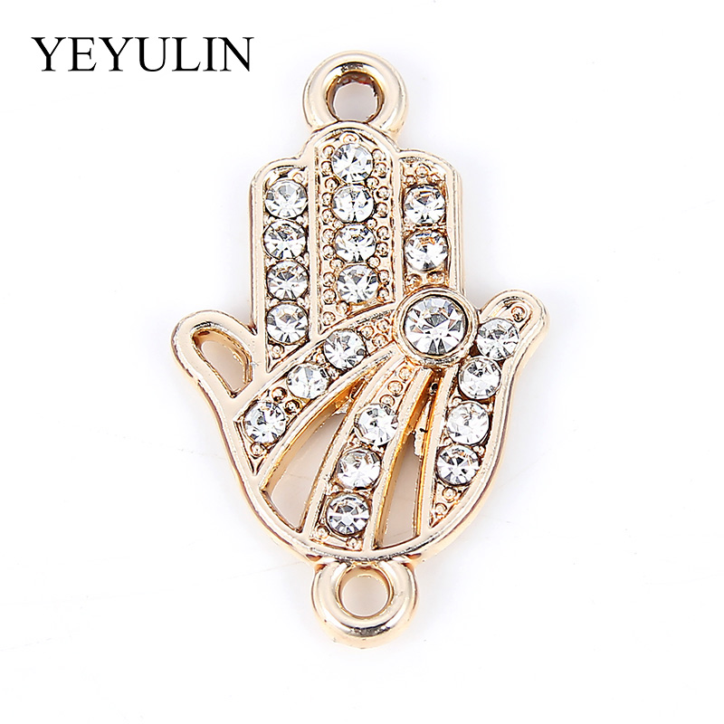 10 Pcs Crystal Hand Pattern Alloy Connectors Bracelet Charms For DIY Fashion Jewelry Making Necklace Pendant 1 4 2 2cm in Jewelry Findings Components from Jewelry Accessories
