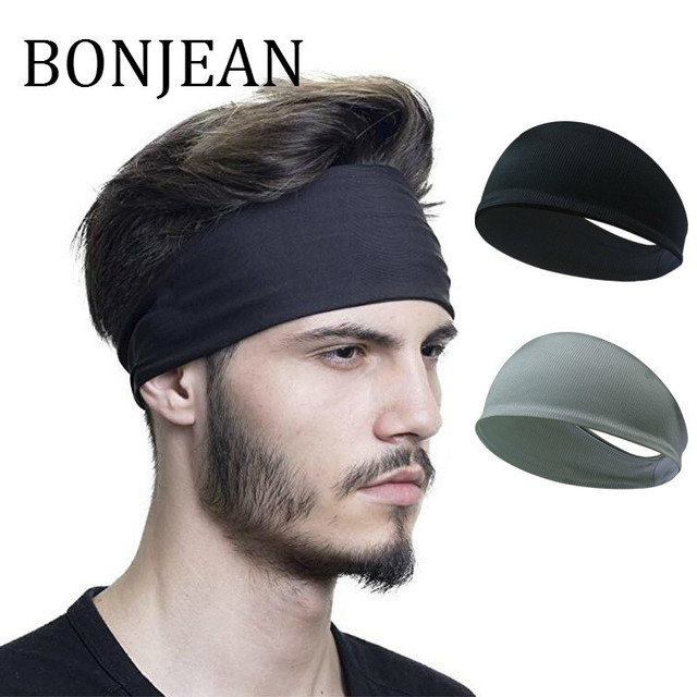 BONJEAN Men s Sport Head Wrap 2018 Hair Accessories Fashion Elastic Hair  Band Yoga Headband Black Soft Hair Band BJ358 619d561dc57