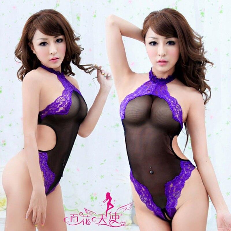 Hirigin Women Sexy Exotic Apparel Lace Bodysuits  Lace Underwear Women Sexy Lingerie Sleepwear Babydoll Purple