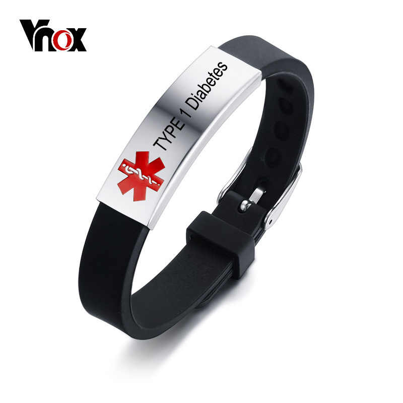 Vnox Free Personalized Engrave Record Customized Info Medical Alert ID Bracelet DIABETES EPILEPSY ALLERGY COPD