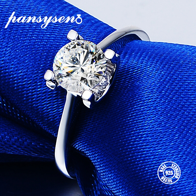 PANSYSEN New Classic Created Moissanite 925 Silver Jewelry Wedding Rings For Women 3 Colors Hot Engagement Ring Wholesale Gifts