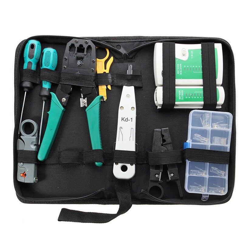 11 pièces combinaison réseau câble fil testeur sertissage Cutter poinçon vers le bas outils Kit RJ11 RJ45 ordinateur réseau outil Kit de réparation