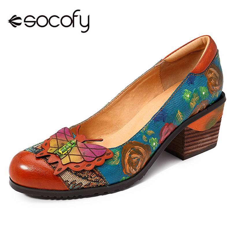 SOCOFY Vintage Basic Pompen Handgeschilderde Bloemen Patroon Splitsen Vlinder Echt Leer Slip Op Pompen Hoge Hakken Dames Schoenen-in Damespumps van Schoenen op  Groep 1