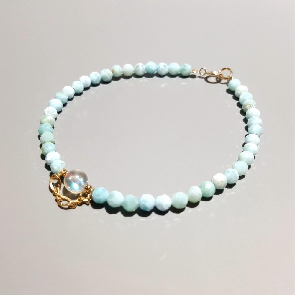 LiiJi Unique Natural Larimar Aurora Crystal Charm 925 Sterling Silver Gold Color Bracelet For Women Children цена