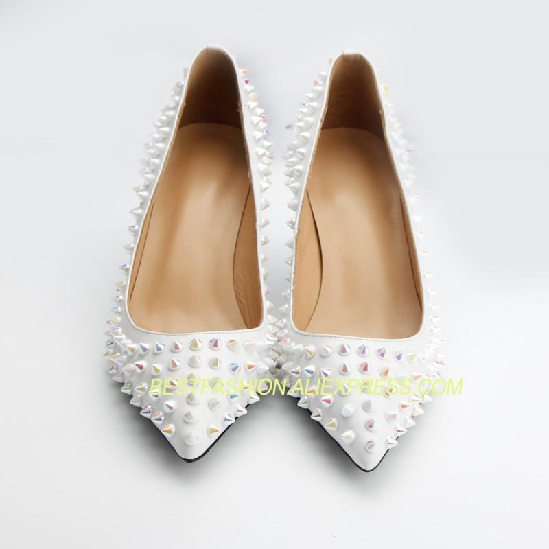 Mariage Femme Véritable En Les Avec Pompes Pour Femmes Coloré Talons Rivets Blanc Hauts De Cuir Marque Chaussures wTZ4EqT6