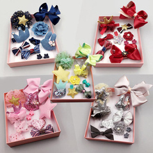 10PCS Kids Baby Girls Lace Bow Hair Clips Flower Barrette Hair Pins Gift Box Set
