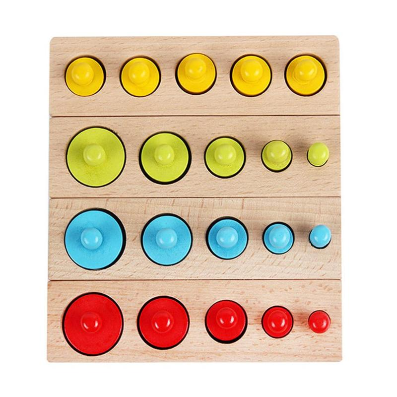New Arrival Kids Montessori Toys Colorful Socket Cylinder Set Beech Wood Multicolor Block Early Educational Math Teaching Toys
