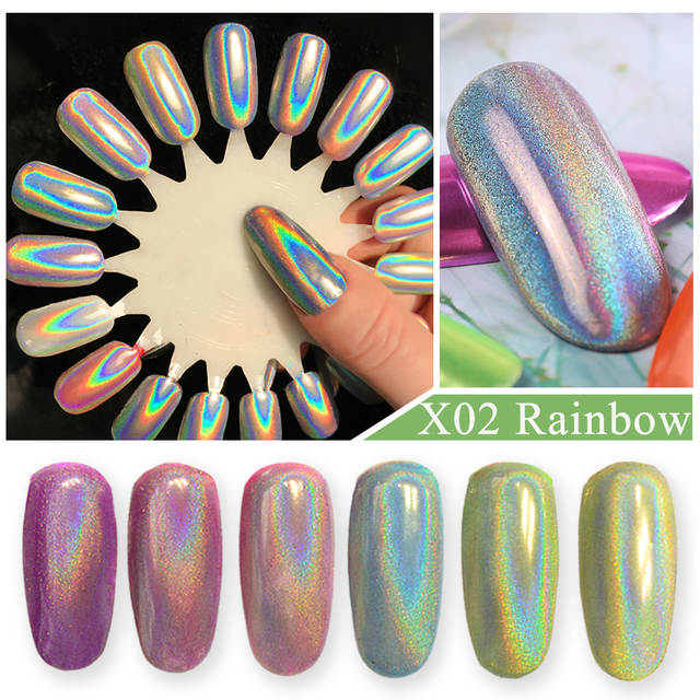 134e81ea8a82a US $1.16 46% OFF Mirror Metallic Chrome Nail Powder Holo Rainbow Rose  Silver Holographic Glitter Sequin Dipping Nail Pigment Decor Manicure  CH786-in ...