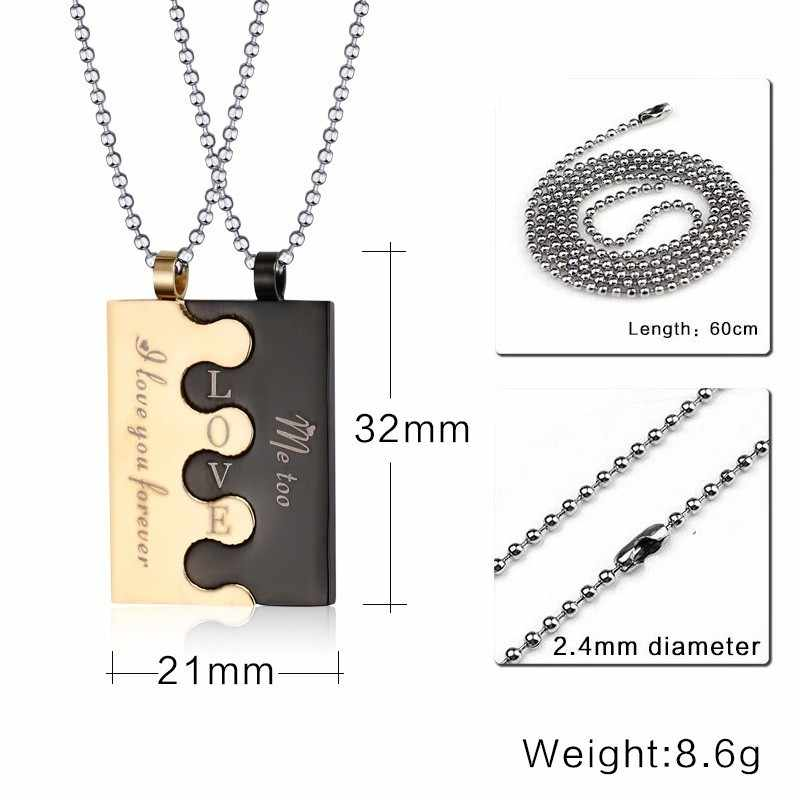 LOVE Letter Inital Pendant Couples Neckace For Women And Men Beads Chains Link 2pcc/set In Black Gold Stainless Steel Jewelry