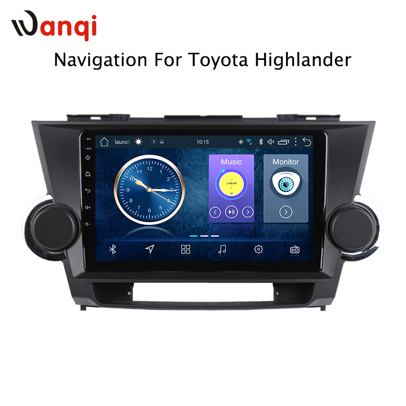 9 inch Android 8.1 full touch screen car multimedia system for Toyota highlander 2009 2014 car gps radio navigation