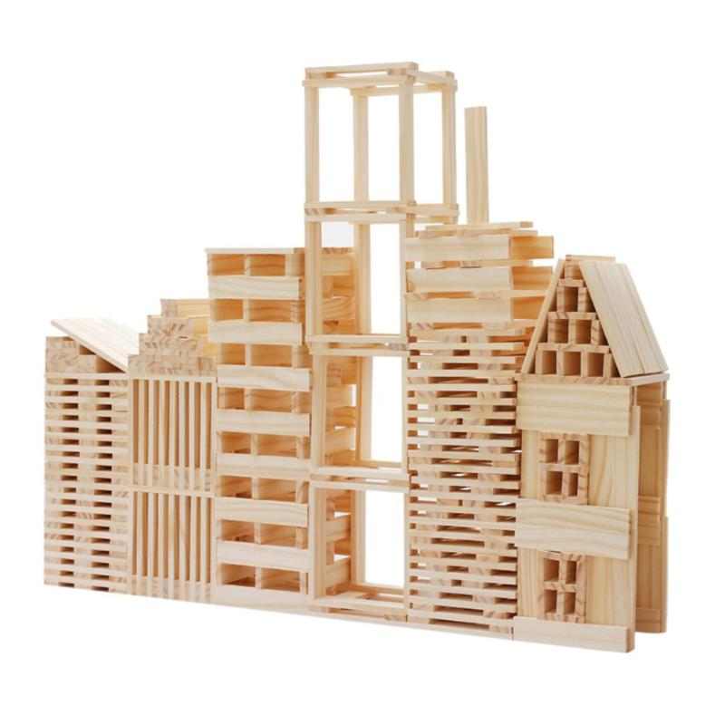 1 Set Wooden Building Blocks Stacked Toys High Kindergarten Intellectual Toys Wood Board Game Kids Learning Education Gifts