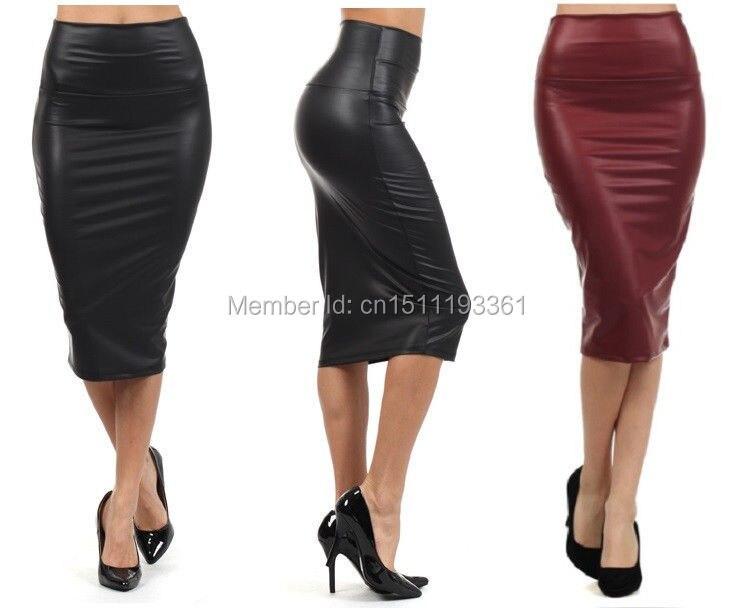 Royaume-Uni disponibilité c690d bd31b € 7.25 |Livraison gratuite femmes bureau jupe taille haute faux cuir jupe  crayon noir sexy élastique sous le genou jupe 10 couleurs XS/S/M/L/XL-in ...