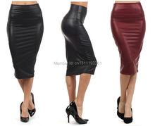 free shipping women office skirt high waist faux leather pencil skirt black sexy elastic below knee