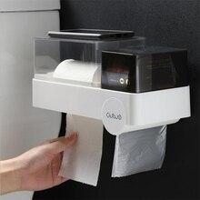 Multifunctional Bathroom Waterproof Toilet Paper Box Storage Holder Wall-mounted Tissue
