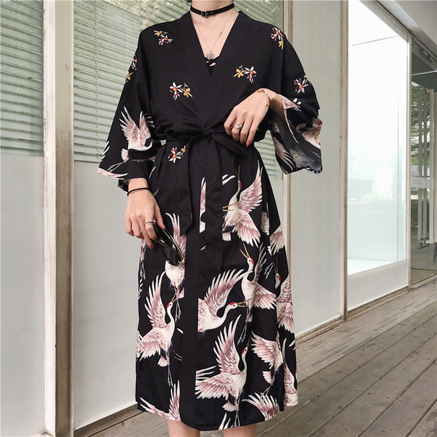 Haori Crane Japanese Style Asian Clothes Bathrobe Harajuku Lovers Kimono Drsss For Girl Unisex Retro Cardigan Fancy Clothing